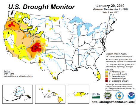 US Drought Monitor January 29. 2019.