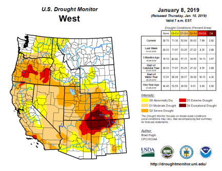 West Drought Monitor January 8, 2019.