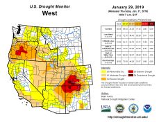West Drought Monitor January 29. 2019.