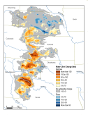 Ogallala Aquifer. This map shows changes in Ogallala water levels from the period before the aquifer was tapped to 2015. Declining levels appear in red and orange, and rising levels appear in shades of blue. The darker the color, the greater the change. Gray indicates no significant change. Although water levels have actually risen in some areas, especially Nebraska, water levels are mostly in decline, namely from Kansas southward. Image credit: Nation Climate Assessment 2018