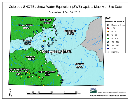 Statewide snowpack basin-filled map February 4, 2019 via the NRCS.