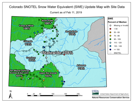 Statewide snowpack basin-filled map February 11, 2019 via the NRCS.