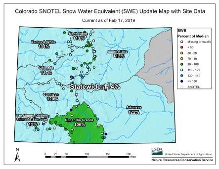 Statewide basin-filled snowpack map February 17, 2019 via the NRCS.