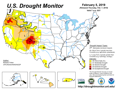 US Drought Monitor February 5, 2019.