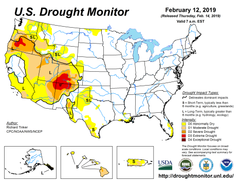 US Drought Monitor February 12, 2019.