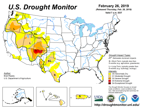 US Drought Monitor February 26, 2019.