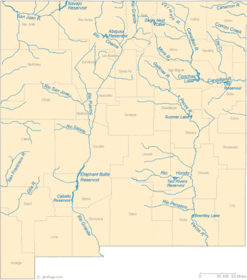 New Mexico Lakes, Rivers and Water Resources via Geology.com.