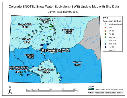 Statewide snowpack basin-filled map March 4, 2019 via the NRCS.