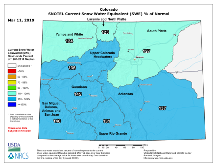 Statewide snowpack basin-filled map March 11, 2019 via the NRCS.
