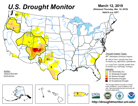US Drought Monitor March 12, 2019.