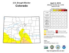 Colorado Drought Monitor April 2, 2019.