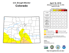 Colorado Drought Monitor April 16, 2019.