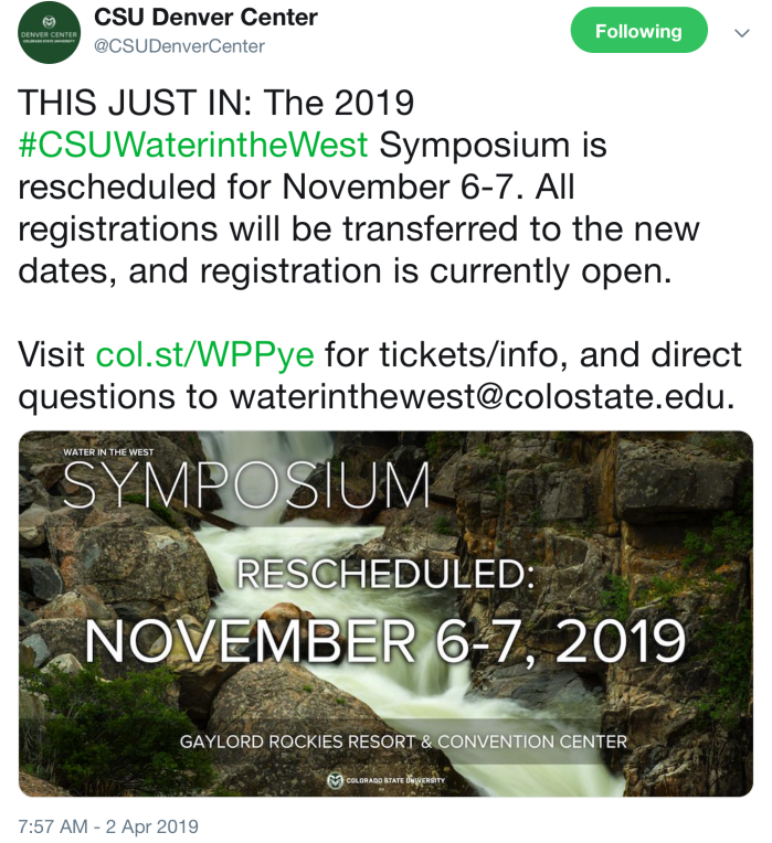 The 2019 #CSUWaterintheWest Symposium Is Rescheduled For