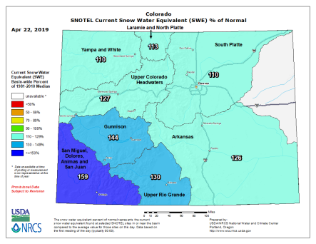 Statewide snowpack basin-filled map April 22, 2019 via the NRCS.