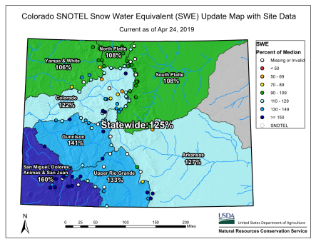 Statewide snowpack basin-filled map April 24, 2019 via the NRCS.`