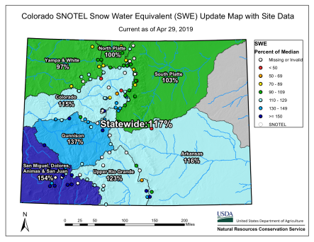 Statewide snowpack basin-filled map April 29, 2019 via the NRCS.