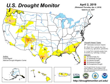US Drought Monitor April 2, 2019.