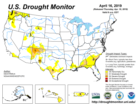 US Drought Monitor April 16, 2019.