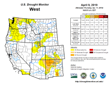 West Drought Monitor April 9, 2019.