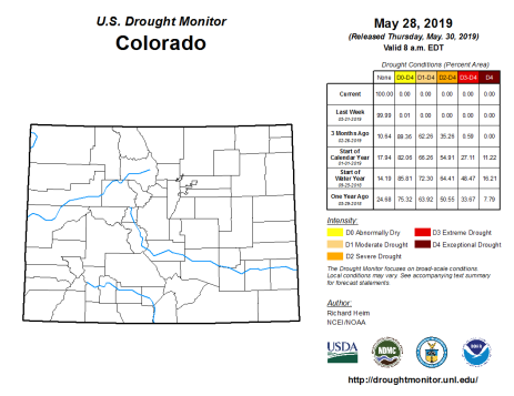 Colorado Drought Monitor May 28, 2019.