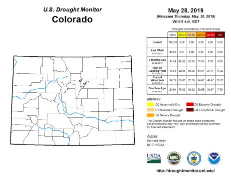 Colorado Drought Monitor May 28, 2019.