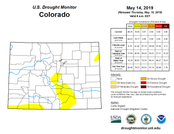 Colorado Drought Monitor May 16, 2019.