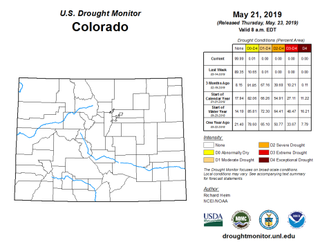 Colorado Drought Monitor May 21, 2019.
