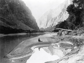 No photos were taken during John Wesley Powell's pioneering 1869 expedition of the Colorado River. This photo, taken along the Green River in northern Colorado, dates from Powell's 1871 expedition, which retraced the 1869 journey. Credit: National Park Service