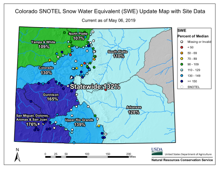 Colorado statewide basin-filled snowpack map May 6, 2019 via the NRCS.