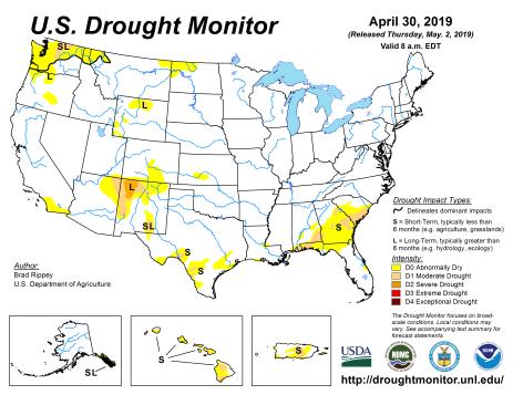 US Drought Monitor April 30, 2019.