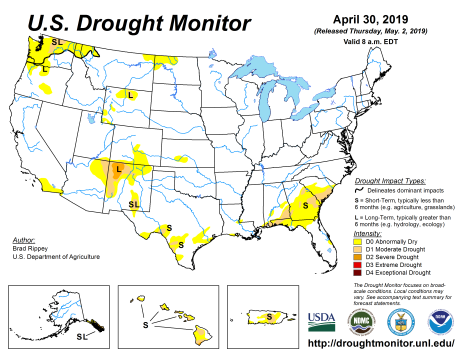 US Drought Monitor April 30, 2019.