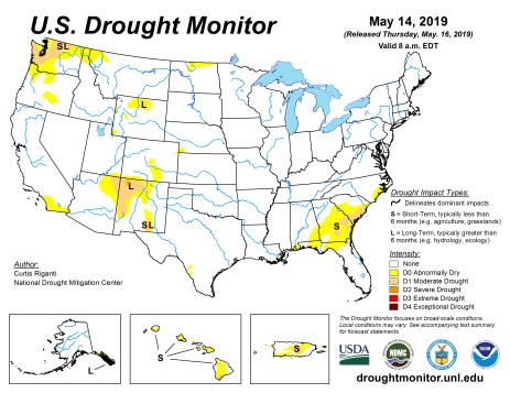 US Drought Monitor May 16, 2019.