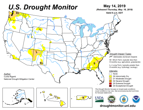 US Drought Monitor May 16, 2019.