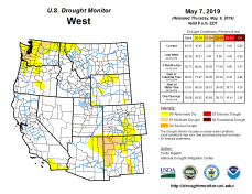 West Drought Monitor May 7, 2019.