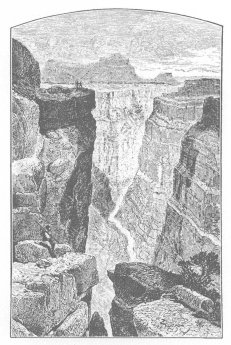 "THE GRAND CANON, ​​​​​​​LOOKING EAST FROM TO-RO-WEAP From ""Exploration of the Colorado River of the West and Its Tributaries"" By J. W . Powell, 1875"