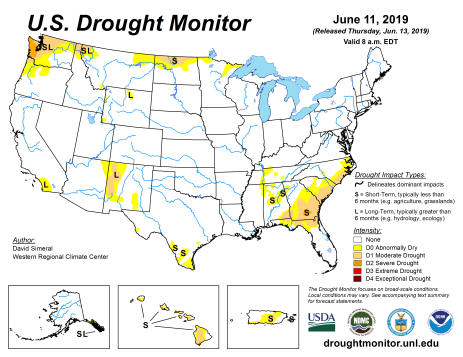 US Drought Monitor June 11, 2019.