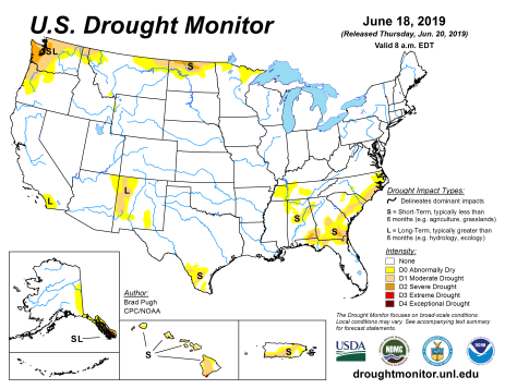 US Drought Monitor June 18, 2019.