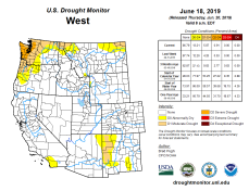 West Drought Monitor June 18, 2019.