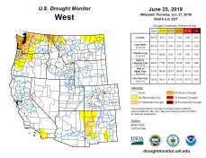 West Drought Monitor June 25, 2019.