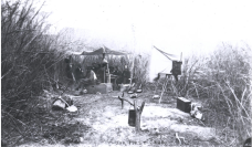 The camp and cooking setup for the second expedition (pictured) was likely very similar to the first expedition and consisted of a few pots and pans to cook over a fire. May 4, 1871. (Credit: E.O. Beaman. Public domain.)