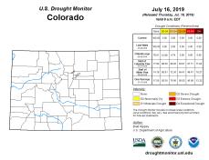 Colorado Drought Monitor July 16, 2019.