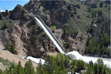 "A ""rooster tail"" is formed by the water descending the Granby Dam spillway on July 19. Photo credit: Northern Water"