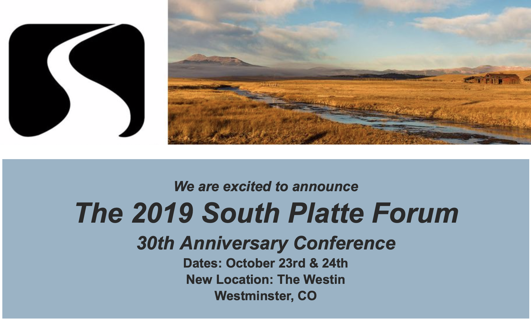 The 2019 #SouthPlatte Forum 30th Anniversary Conference