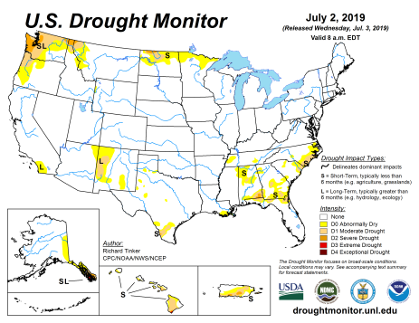 US Drought Monitor July 2, 2019.