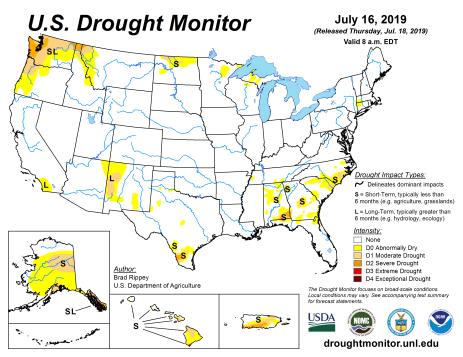 US Drought Monitor July 16, 2019.