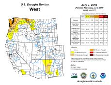West Drought Monitor July 2, 2019.