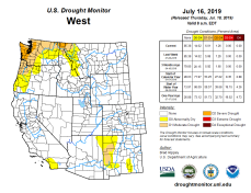 West Drought Monitor July 16, 2019.