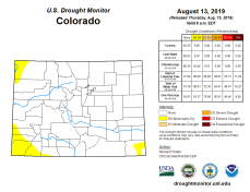 Colorado Drought Monitor August 13, 2019.
