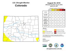 Colorado Drought Monitor August 20, 2019.