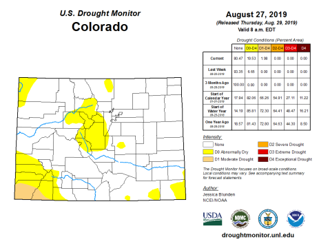 Colorado Drought Monitor August 27, 2019.